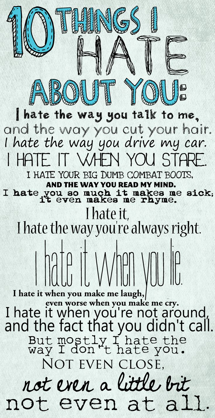 Hate I 5 About You Things